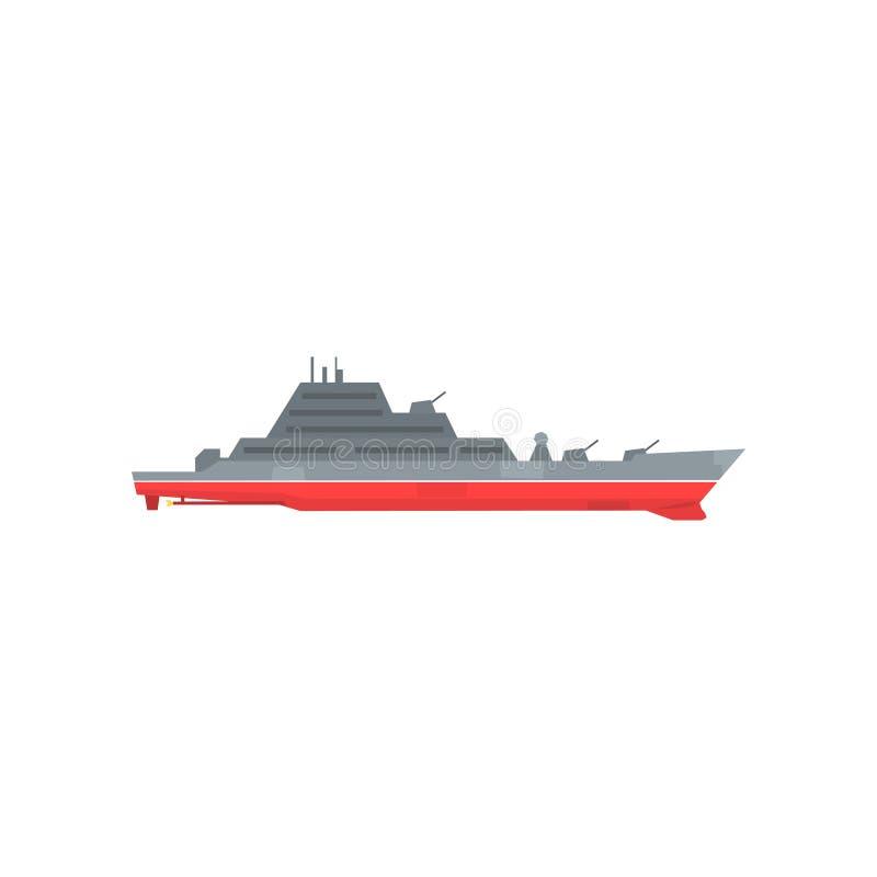 Buque De Guerra Militar Coloreado Con El Radar Y Los Armas Fijados ...