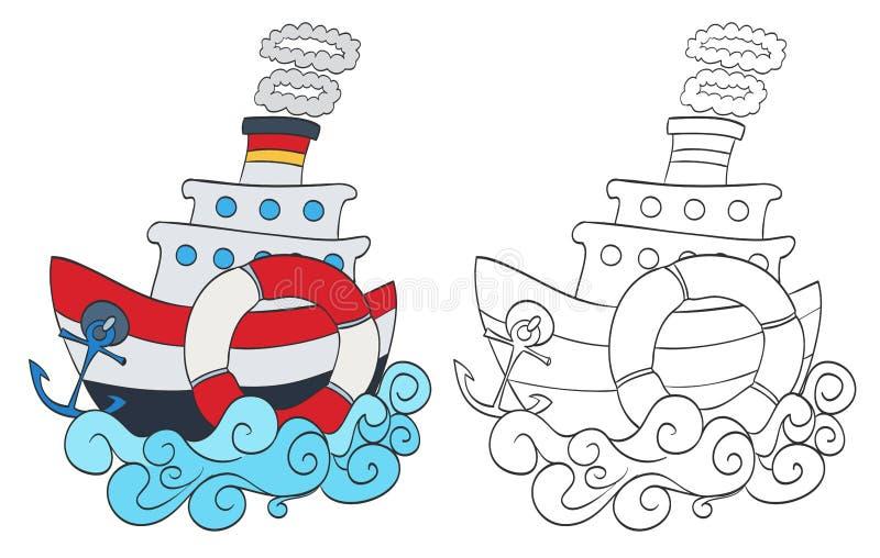 Buque de vapor de la historieta stock de ilustración