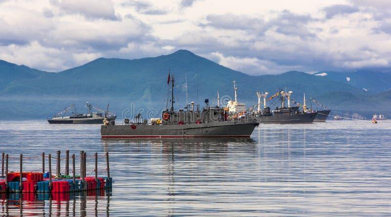 Buques de guerra en el desfile marítimo foto de archivo