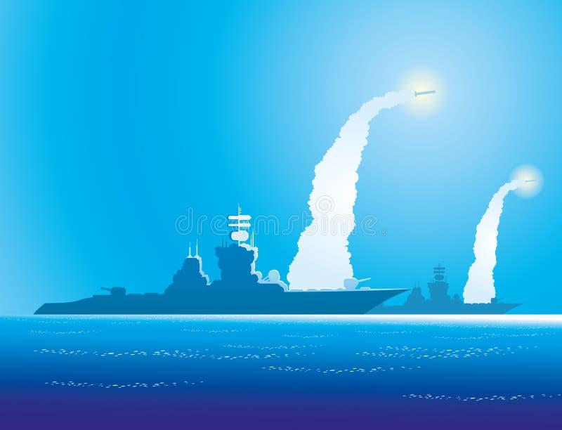 Buques de guerra en el mar libre illustration