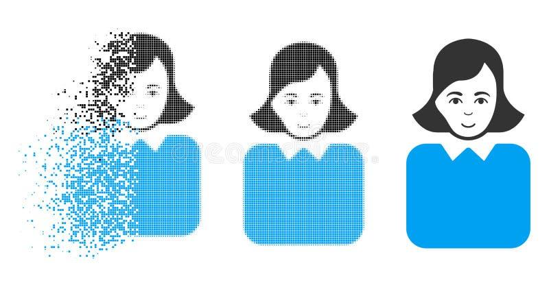 Burócrata de semitono de desintegración Woman Icon de Pixelated con la cara libre illustration