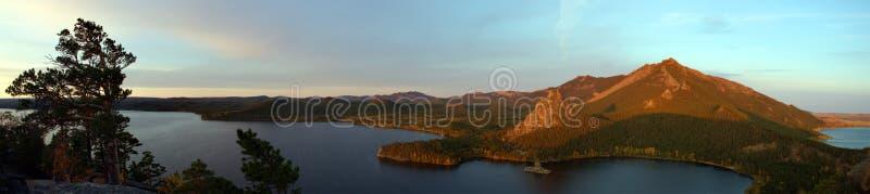 Burabai湖全景,黎明 库存照片