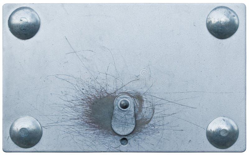 Buraco da fechadura do furo chave do cacifo da placa de fechamento do metal fechado foto de stock