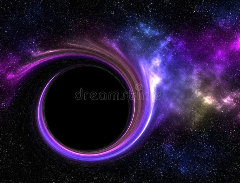 Buraco negro na galáxia com nebulosa ilustração do vetor