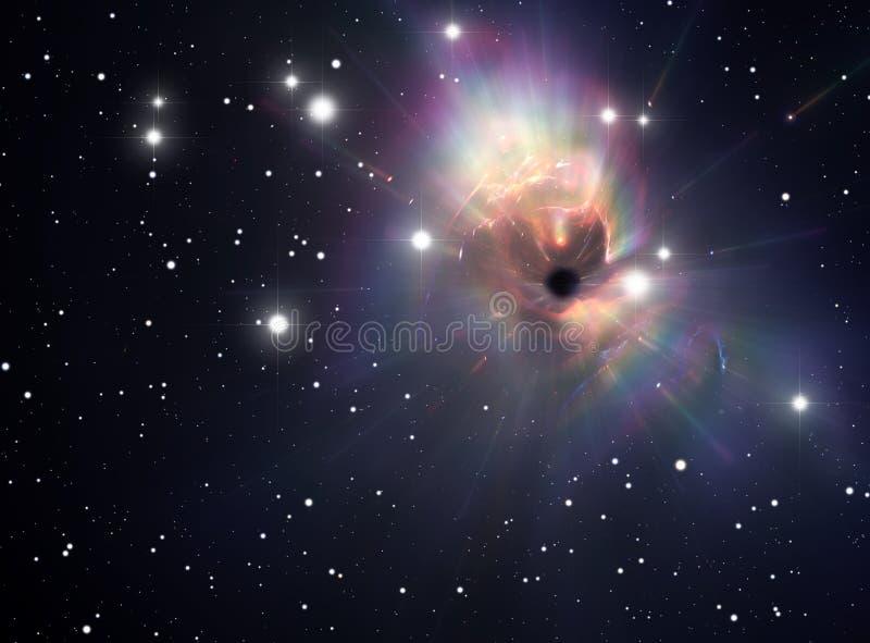 Buraco negro na nebulosa ilustração do vetor