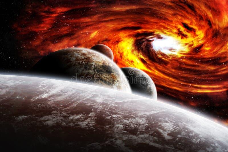 Buraco negro vermelho da nebulosa com nuvens azuis ilustração do vetor