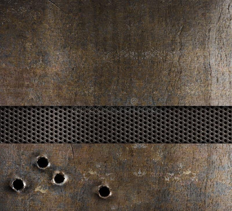 Buracos de bala no fundo do metal imagem de stock royalty free