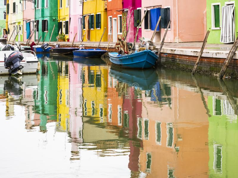 Burano在威尼斯式盐水湖 库存图片