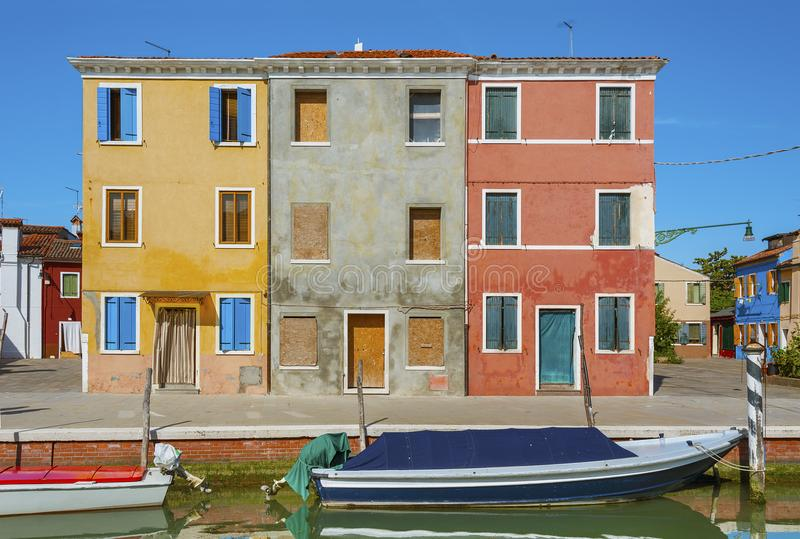 Burano海岛,威尼斯,意大利田园诗风景  免版税图库摄影