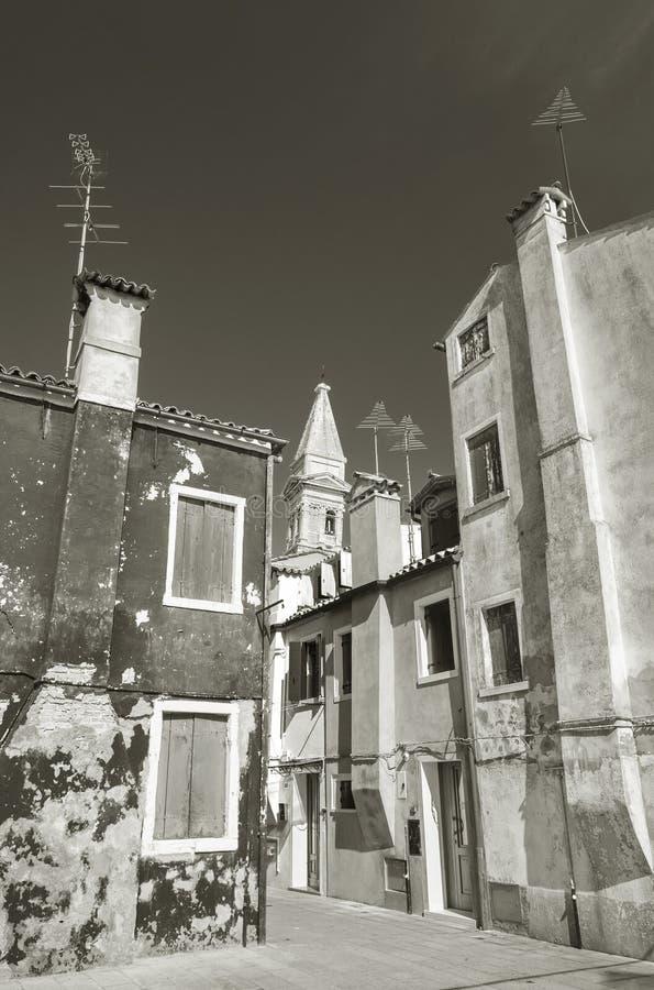 Burano海岛,威尼斯,意大利黑白场面  库存照片