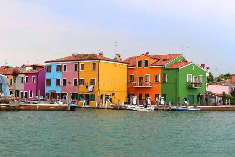 Burano, de huizen van Italië stock foto's