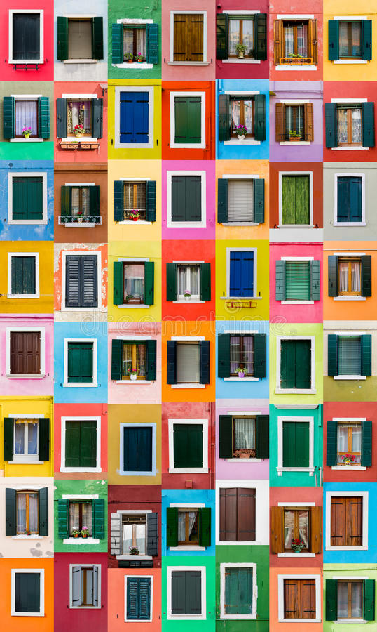 Burano Fenster, Italien stockfotos