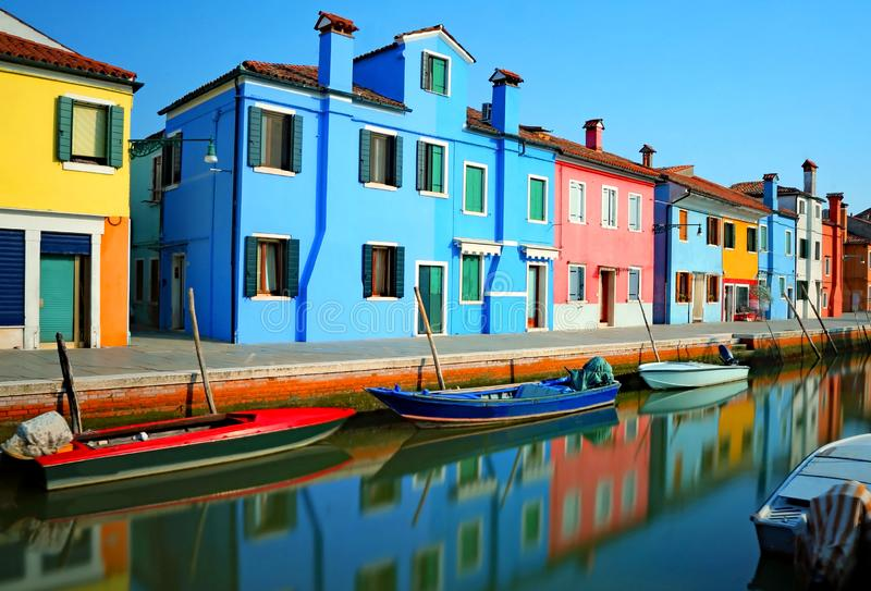 Burano and reflection in the water with Effect with long exposure royalty free stock image