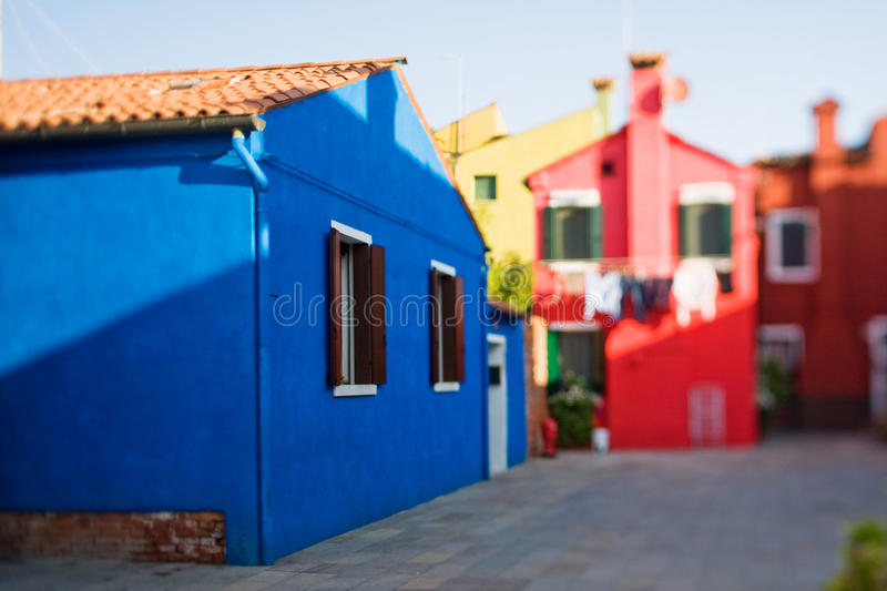 Burano island in tilt-shift royalty free stock images