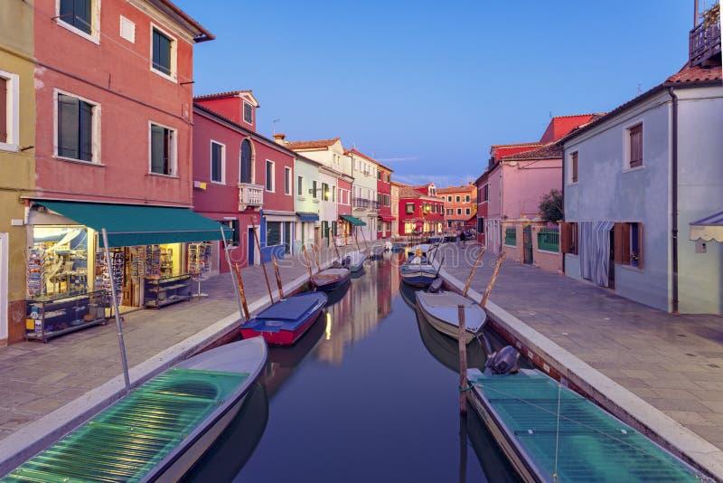 Burano Island At Twillight. Venetian Lagoon, Italy stock images