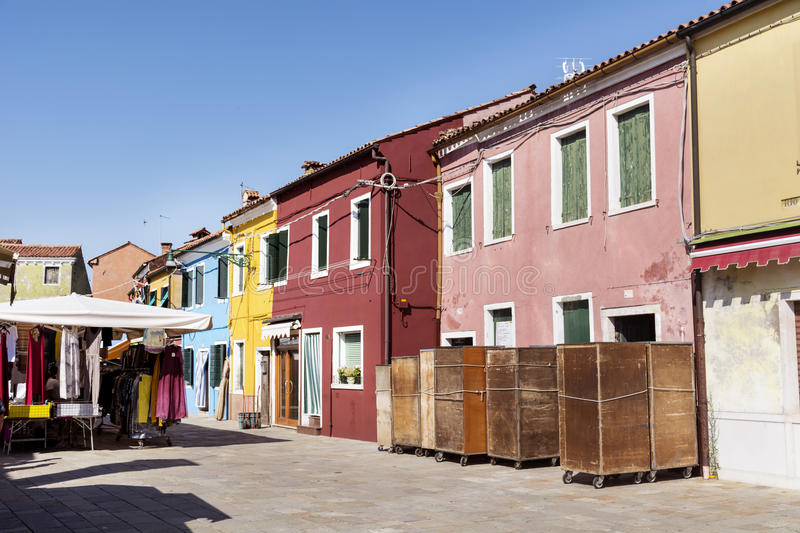 Burano island ,typical colorful houses - Italy royalty free stock photos