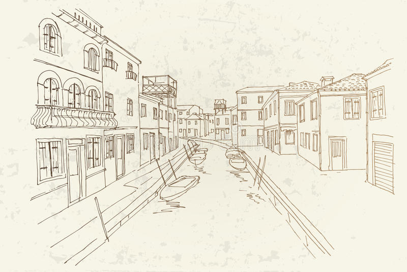 Burano island, Venice, Italy. vector illustration
