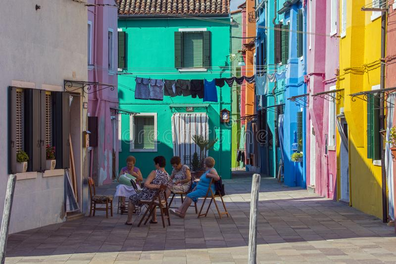 Local Residents in Burano stock photos