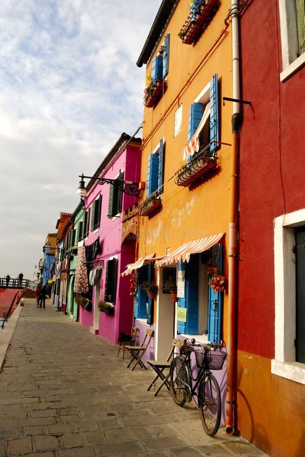 burano kolorowa domów wyspa Venice obraz stock