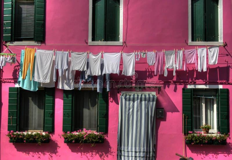 Burano laundry, Venice stock image
