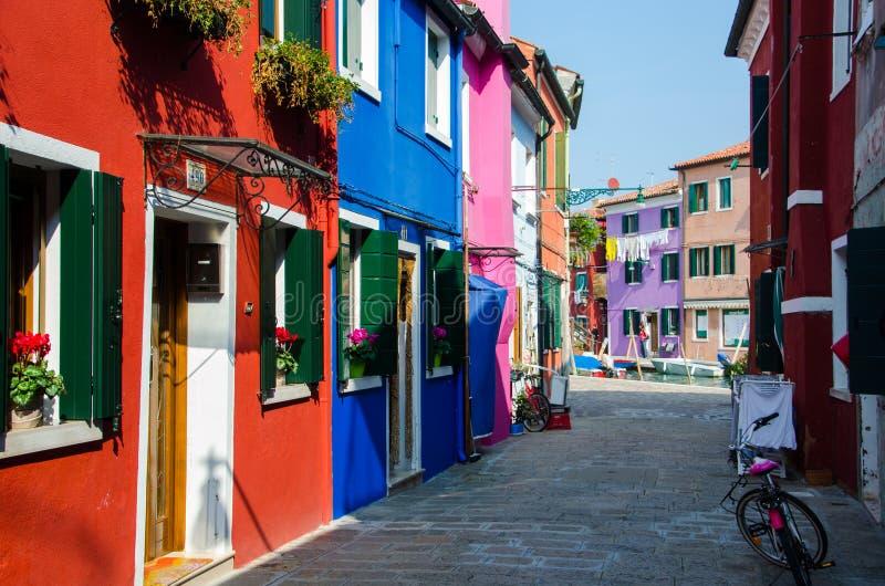 Burano Wyspa Bajki ulica kolor domy zdjęcie royalty free