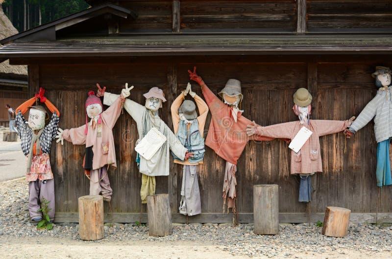 Burattini dello spaventapasseri Il villaggio storico di Shirakawa-va Prefettura di Gifu Chubu japan fotografia stock