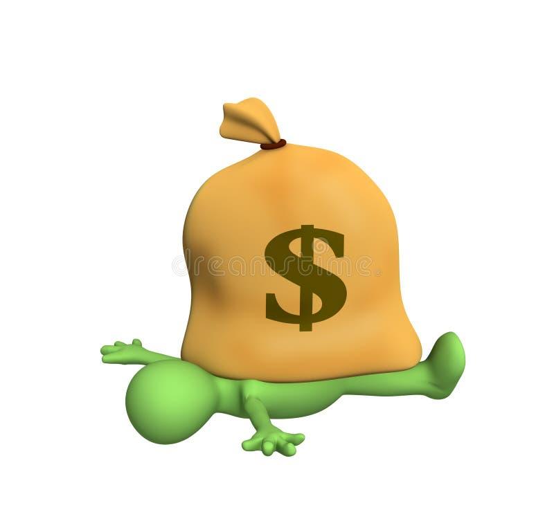burattino 3d, compresso da un sacchetto con i dollari royalty illustrazione gratis