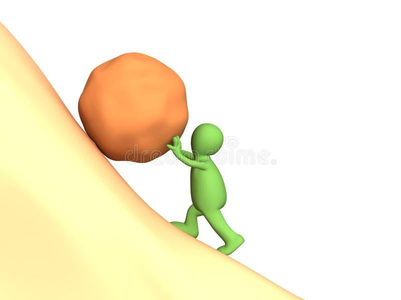 burattino della persona 3d che spinge in salita una pietra pesante illustrazione vettoriale