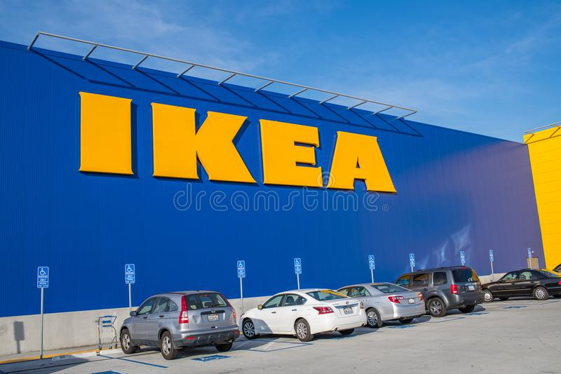 Exterior of an Ikea store. Burbank, CA: May 4, 2018: Exterior of an Ikea store in Burbank, CA. The Burbank Ikea is the largest Ikea store in the United States of stock photo