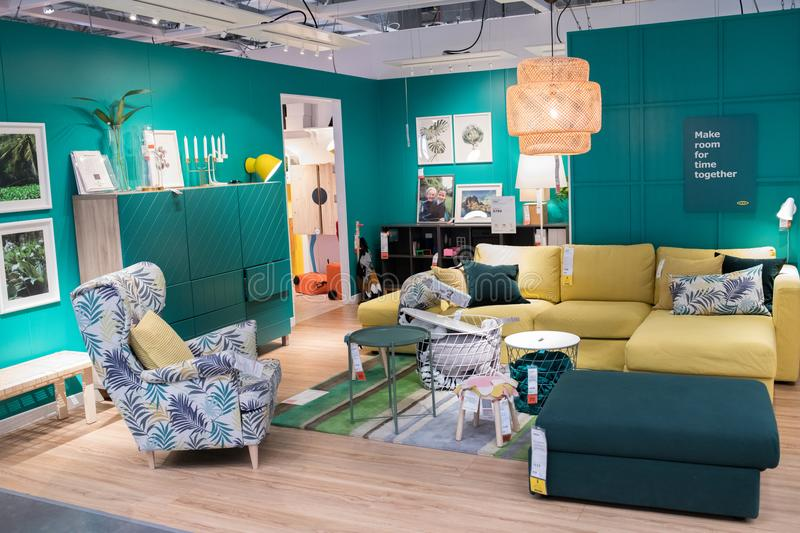 Interior of an Ikea store. Burbank, CA: May 4, 2018: Interior of an Ikea store in Burbank, CA. The Burbank Ikea is the largest Ikea in the United States of royalty free stock photography