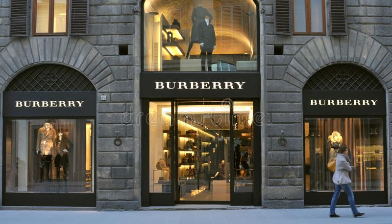 Burberry clothing fashion boutique in Italy. Burberry boutique in Florence city , Italy . Burberry is a British luxury fashion house, manufacturing clothing stock image