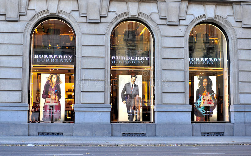 Burberry flagship store in Paseo de Gracia royalty free stock images