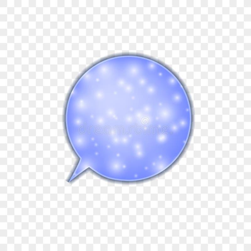 Burbuja azul de la charla del vector en el fondo transparente ligero, muestra, bola Nevado, ejemplo colorido ilustración del vector