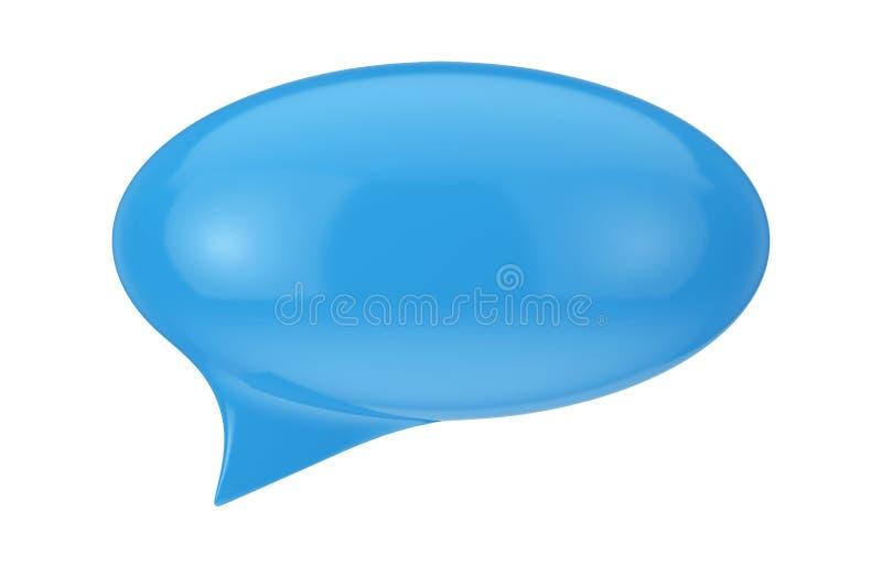 Burbuja azul del discurso con el espacio en blanco para el suyo muestra representación 3d ilustración del vector