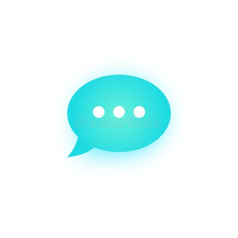Burbuja azul del discurso con la sombra, globo de discurso, línea icono de la burbuja de la charla del vector del arte para los a ilustración del vector