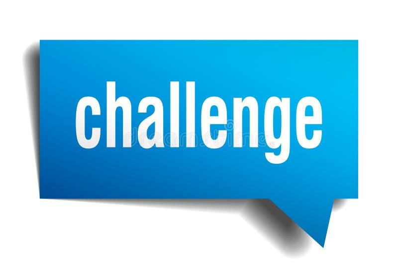 Burbuja azul del discurso 3d del desafío ilustración del vector