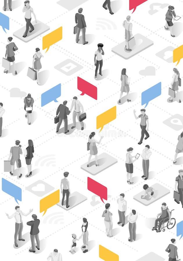 Burbuja Baloon del vector del anuncio de la gente stock de ilustración