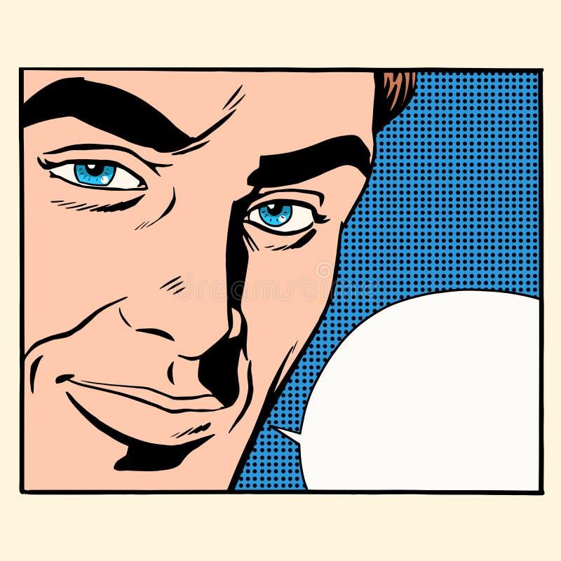 Burbuja cómica de los hombres hermosos de la cara stock de ilustración