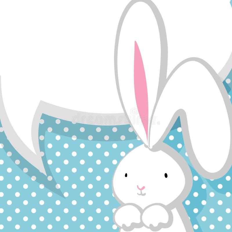 Burbuja cómica del conejo lindo blanco ilustración del vector