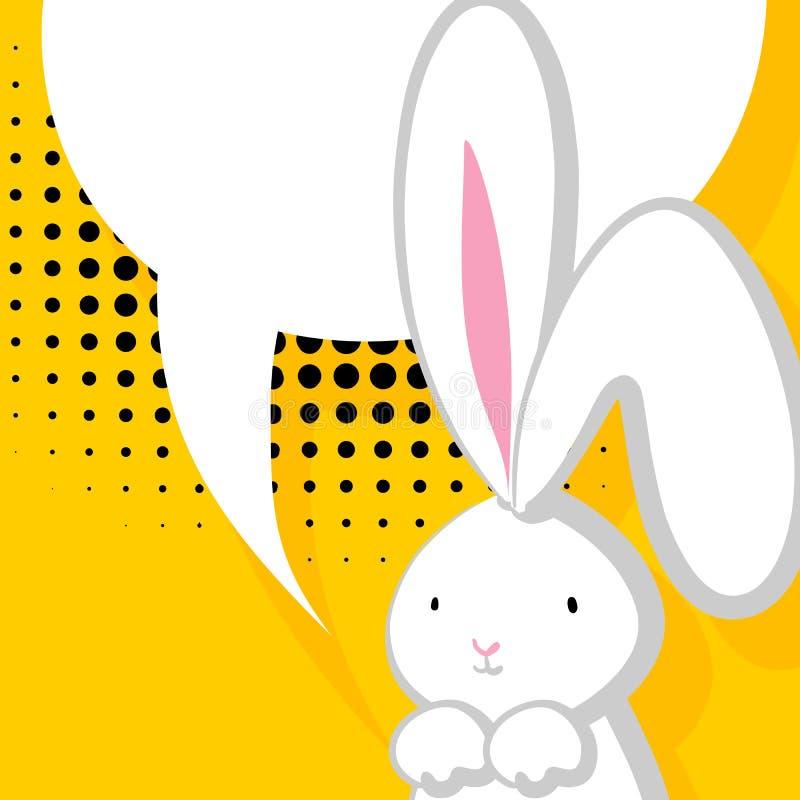 Burbuja cómica del conejo lindo blanco libre illustration