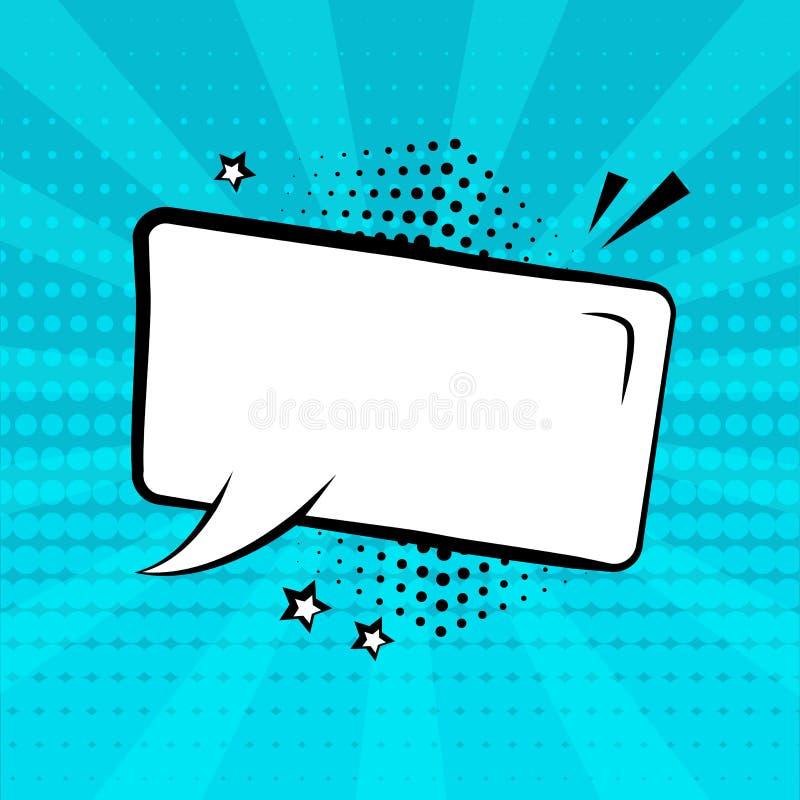 Burbuja cómica del discurso vacío blanco con las estrellas y sombra de semitono en fondo azul Efectos sonoros c?micos en estilo d ilustración del vector