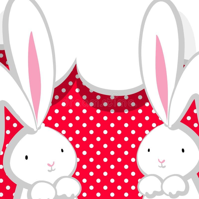 Burbuja cómica del rosa lindo blanco del conejo dos libre illustration