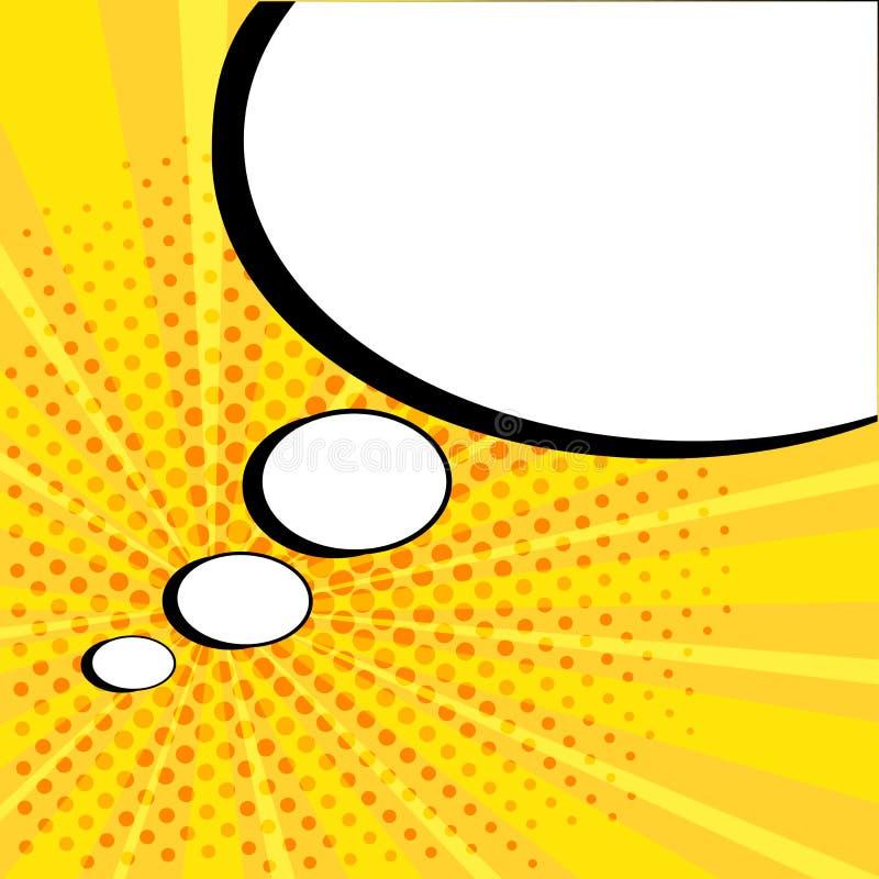 Burbuja c?mica del discurso vac?o blanco con las estrellas y los puntos Ejemplo del vector en el estallido Art Style ilustración del vector