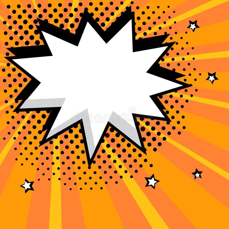 Burbuja c?mica del discurso vac?o blanco con las estrellas y los puntos Ejemplo del vector en el estallido Art Style stock de ilustración