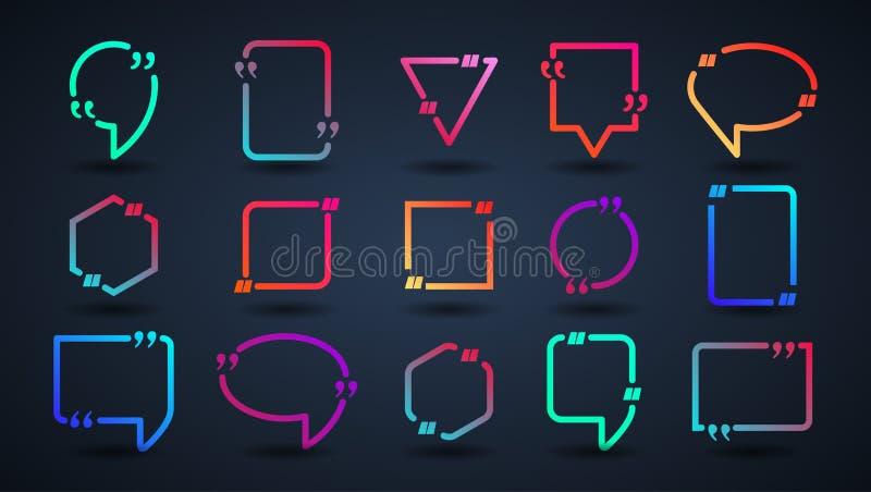 Burbuja con el texto y la cita ilustración del vector
