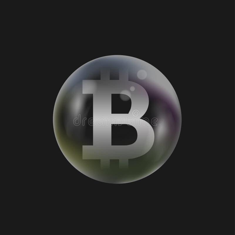Burbuja de jabón con la muestra de Bitcoin ilustración del vector