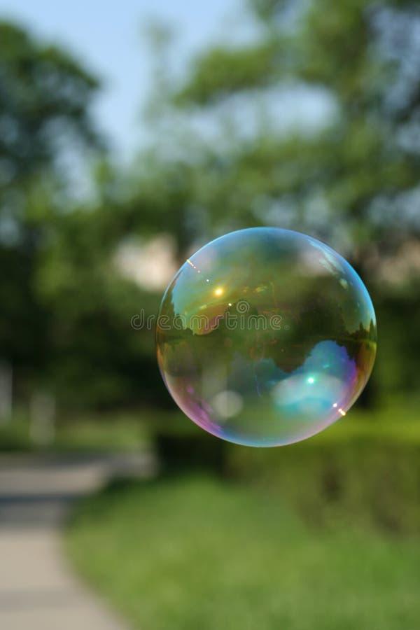 Burbuja de jabón en el parque fotos de archivo