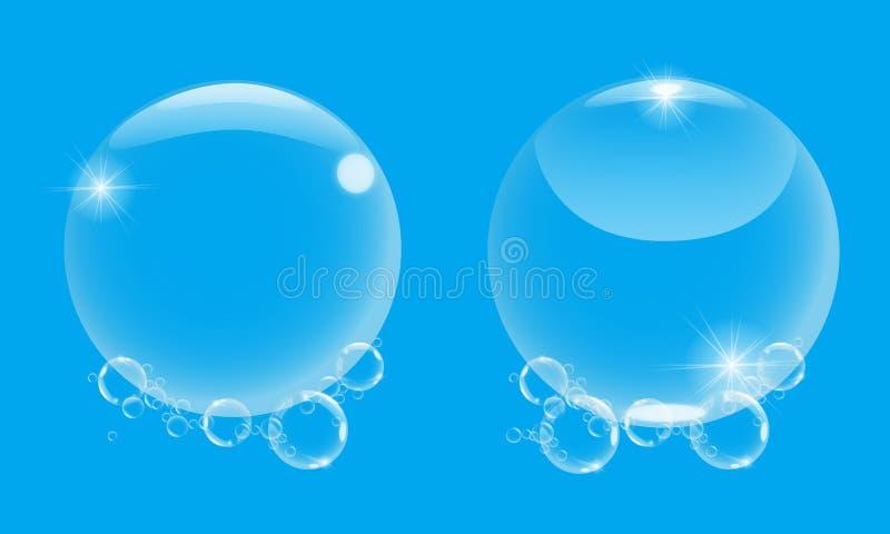 Burbuja de jabón realista 3d con en el fondo azul Ejemplo determinado de la burbuja de jabón del vector ilustración del vector