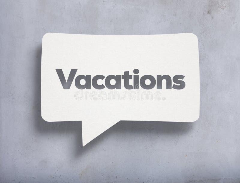 Burbuja de la charla y texto blancos de las vacaciones foto de archivo