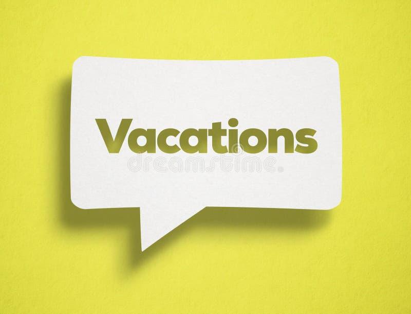 Burbuja de la charla y texto blancos de las vacaciones fotografía de archivo libre de regalías